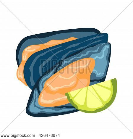 Realistic Fresh Oysters With Lemon On White Background - Vector Illustration