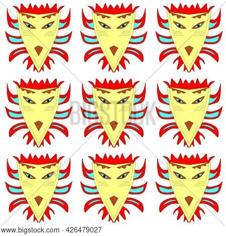 African Masks For Ethnic Celebration, Carnival And Ceremony. The Image Is In An Ethnic Style
