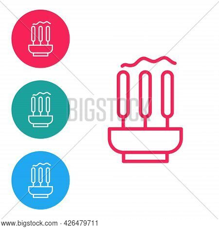 Red Line Burning Aromatic Incense Sticks Icon Isolated On White Background. Set Icons In Circle Butt