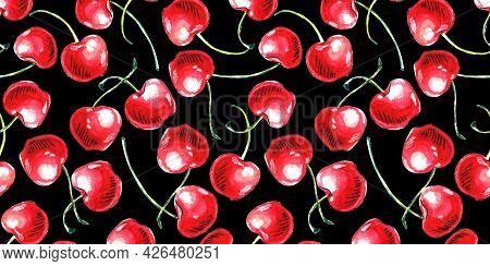 Seamless Pattern Of Watercolor Single Cherries On The Black Background. Hand Drawn Bright Texture, I