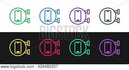 Set Line Phone Repair Service Icon Isolated On Black And White Background. Adjusting, Service, Setti