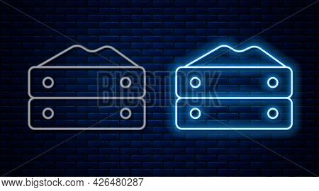 Glowing Neon Line Bag Of Flour Icon Isolated On Brick Wall Background. Vector