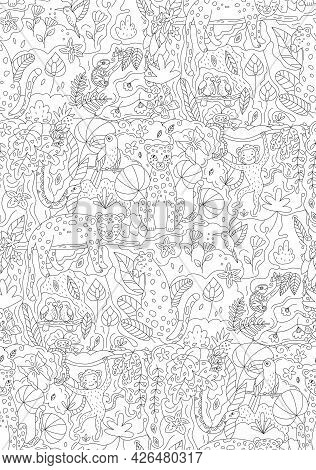 Vector Seamless Pattern With Jungle Animals Leopards, Monkey, Snake, Parrots, Toucan And Chameleon.