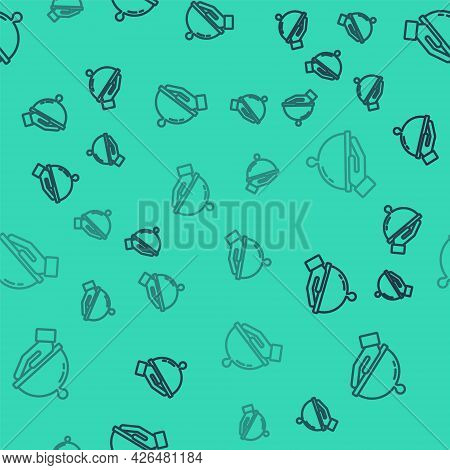 Black Line Covered With A Tray Of Food Icon Isolated Seamless Pattern On Green Background. Tray And