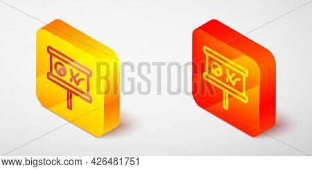 Isometric Line Planning Strategy Concept Icon Isolated On Grey Background. Baseball Cup Formation An
