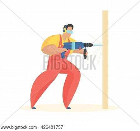 Man With Electric Drill. Fast Punching Holes For Fasteners And Self Tapping Screws. Uniformed Carpen