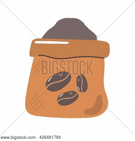 Canvas Bag With Ground Coffee, Coffee Beans. Pile Cocoa Powder.