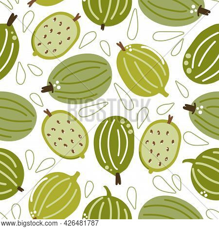 Seamless Pattern Of Gooseberry. Modern Flat Illustration.