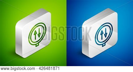 Isometric Line Road Sign Warning Two Way Traffic Icon Isolated On Green And Blue Background. Silver