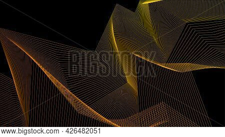 Black And Gold Abstract Background For Presentation, Banner, Poster. Cool Modern Geometric Illustrat