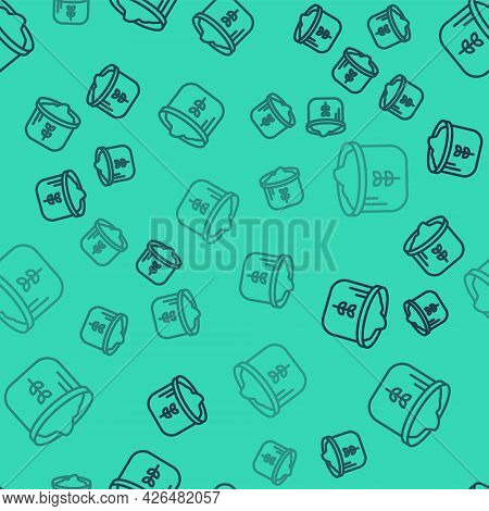 Black Line Bag Of Flour Icon Isolated Seamless Pattern On Green Background. Vector