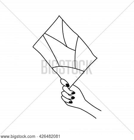 Simple Delicate Book Or Paper Icon In Female Hand. Stylish Cozy Illustration For Highlights In Socia