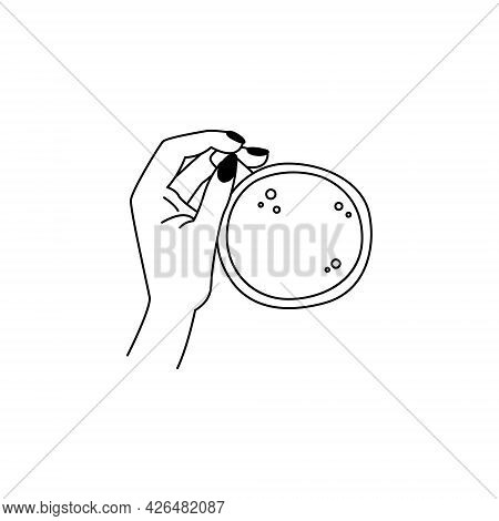 Simple Linear Delicate Icon For Coffee Shop. Beautiful Female Hand With A Manicure Holds A Cup Of Co