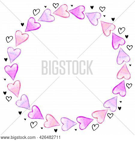 Hand Drawn Round Frame, Border From Watercolor Hearts. Romance Symbol Of Love, Background, Decoratio