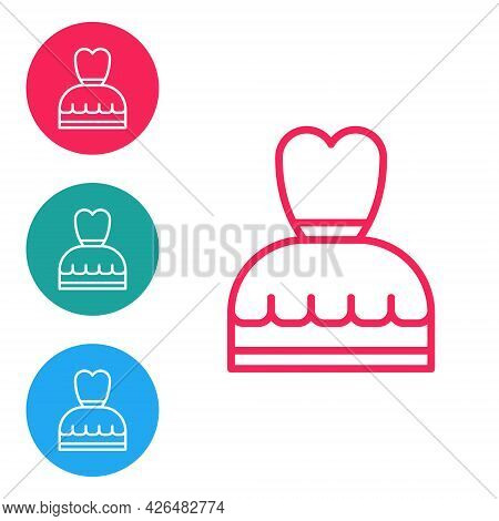 Red Line Woman Dress Icon Isolated On White Background. Clothes Sign. Set Icons In Circle Buttons. V