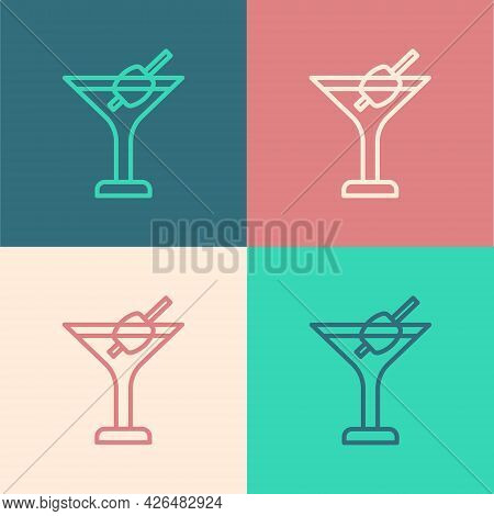Pop Art Line Martini Glass Icon Isolated On Color Background. Cocktail Icon. Wine Glass Icon. Vector