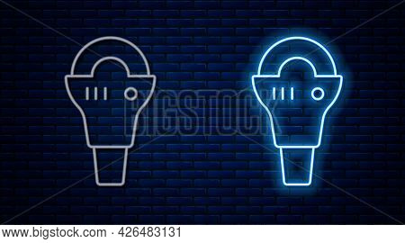 Glowing Neon Line Angle Grinder Icon Isolated On Brick Wall Background. Vector