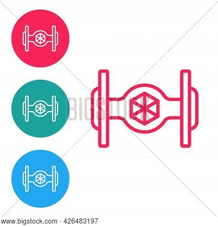 Red Line Cosmic Ship Icon Isolated On White Background. Set Icons In Circle Buttons. Vector