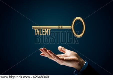 Coach Has A Key To Unlock Talent - Motivation Concept. Coach (manager, Mentor, Hr Specialist) With K