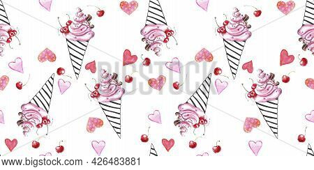 Cute Seamless Pattern Of Pink Watercolor Abstract Ice Cream In Black Outline Waffle Cone And Hearts.