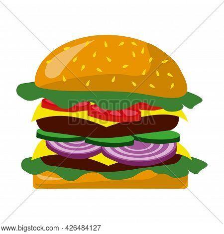 Realistic Big Hamburger On White Background - Vector Illustration