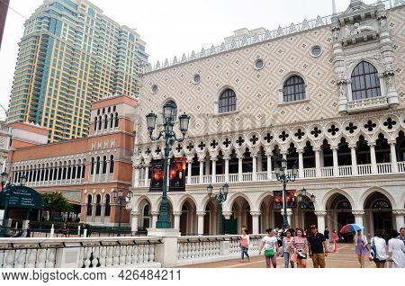 Macanese People And Foreign Travelers Walking Travel Visit Senado Senate Square Or Largo Do Senado A