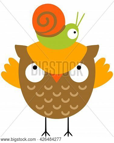 Scalable Vectorial Representing A Little Snail On The Head Of A  Cute Owl, Element For Design, Illus