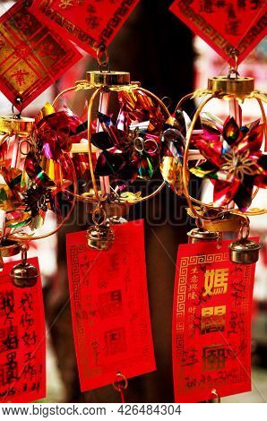 Small Windmill Amulet For Sale Macanese People And Foreign Traveler Travel Visit And Write On Paper