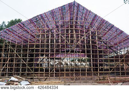 Asian People Macanese Workers Working Builder New Building With Bamboo Scaffolding In Construction S