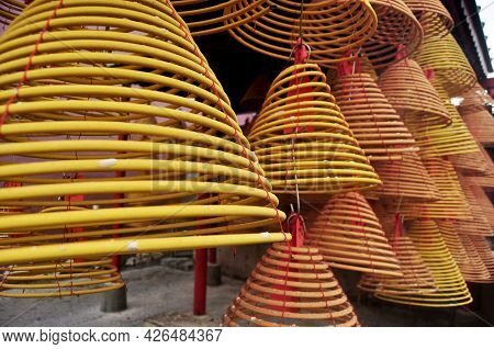 Macanese People And Foreign Traveler Travel Visit Respect Praying Deity Angel God Buddha By Incense