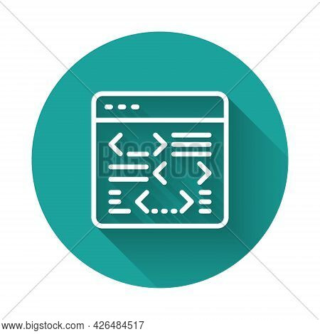 White Line Software, Web Developer Programming Code Icon Isolated With Long Shadow Background. Javas