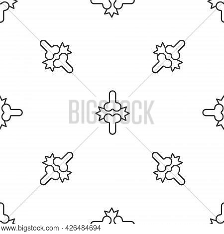 Grey Line Joint Pain, Knee Pain Icon Isolated Seamless Pattern On White Background. Orthopedic Medic