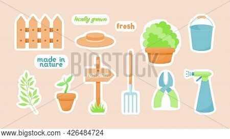 Natural Farming Gardening Sticker. Household Pitchfork And Pruning Shears. Fragment Of Rustic Fence