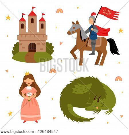 Vector Set Of Fairy Tale Characters. Princess, Knight, Dragon And Castle Isolated On A White Backgro