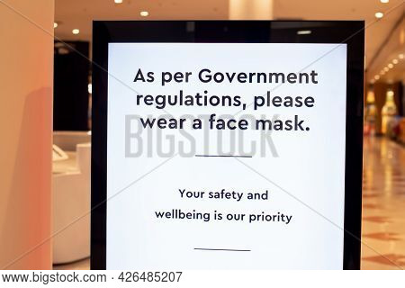 Wearing Face Masks In Shopping Centres Are Compulsory In Some States. As Per Government Regulations,