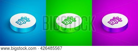 Isometric Line Animal Shelter House Icon Isolated On Blue, Green And Purple Background. White Circle