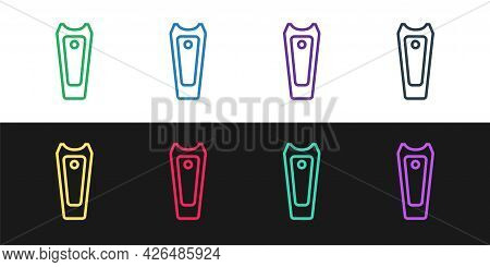 Set Line Nail Cutter Icon Isolated On Black And White Background. Nail Clipper. Vector
