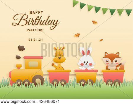 Cute Giraffe, Rabbit, Fox On Train Birthday Greeting Card. Jungle Animals Celebrate Children's Birth