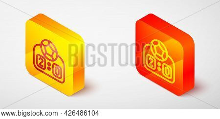 Isometric Line Sport Mechanical Scoreboard And Result Display Icon Isolated On Grey Background. Yell