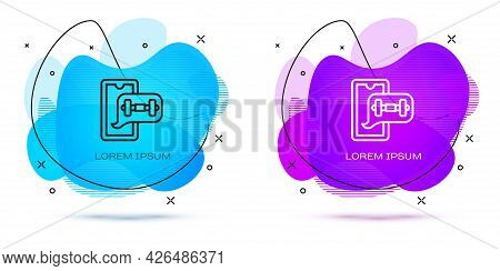 Line Fitness App For Sports Icon Isolated On White Background. Healthcare Mobile App Concept. Online