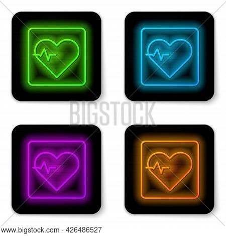 Glowing Neon Line Heart Rate Icon Isolated On White Background. Heartbeat Sign. Heart Pulse Icon. Ca