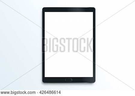 Realistic Tablet Isolated. Black Drawing Pad. Blank Screen Isolated. High Detailed Device Mockup. Ve