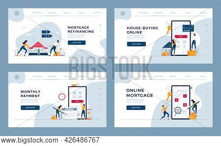 Mortgage Concepts Set For Landing, Homepage. House-buying, Monthly Payment, Online Loan Contract Sig