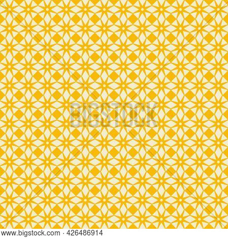Simple Geometric Artistic Pattern. Ecru White With Yellow Background - Fabric Texture Design And Wal