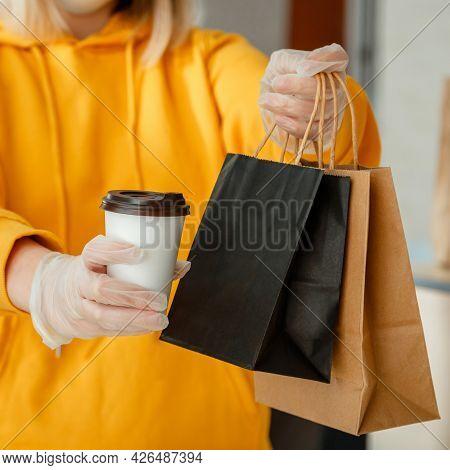 Takeaway Food Paper Bag, Cup Of Coffee Or Drink. Food Bag Lunch Mock Up Package To Go In Takeaway Re