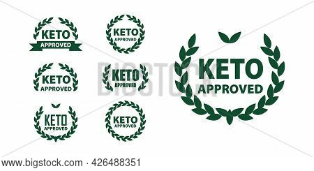 Keto Approved Diet Marks Set For Certified Ketogenic Products. Vector Keto Label For Ketogenic Diet