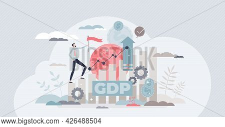 Gross Domestic Product Or Gdp As Country Financial Rating Tiny Person Concept. Macroeconomic Term Fo
