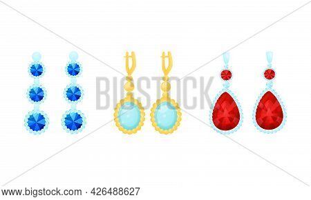 Golden And Silver Earrings As Jewellery Or Jewelry Item And Personal Adornment Vector Set