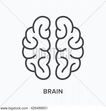 Brain Flat Line Icon. Vector Outline Illustration Of Human Organ. Black Thin Linear Pictogram For Ne