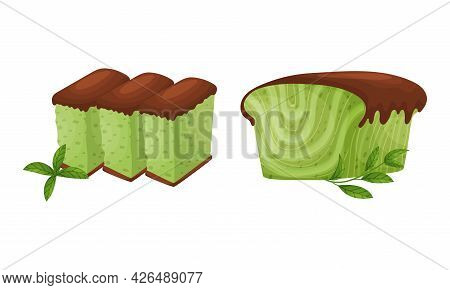 Green Matcha Dessert With Castella And Muffin Vector Set